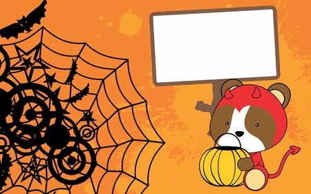 cute baby hamster cartoon halloween custom background in vector format