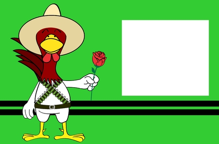 postal card: Funny chicken mexican expressions cartoon background in vector format very easy to edit