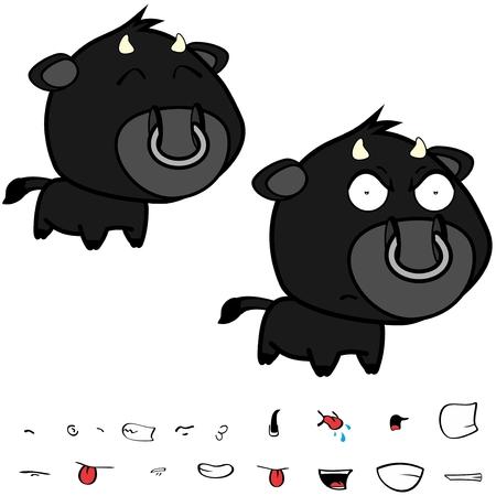 Divertidas expresiones de gran cabeza negra bull bull en formato vectorial muy fácil de editar. Foto de archivo - 86428100