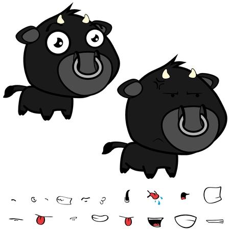 Lustige kleine große Kopf schwarz Stier Ausdrücke in Vektor-Format sehr einfach zu bearbeiten . Standard-Bild - 86428101