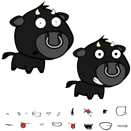 Funny little big head black bull expressions set in vector format very easy to edit.