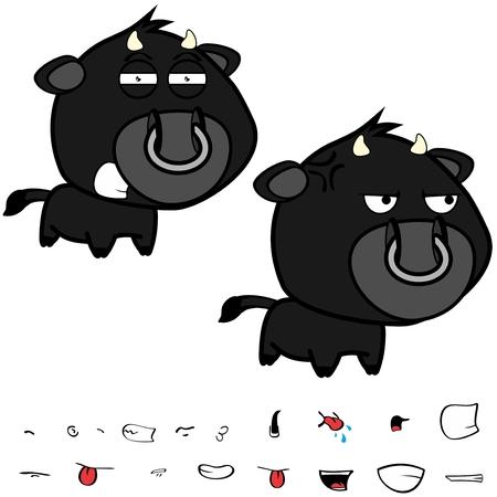 Divertidas expresiones de gran cabeza negra bull bull en formato vectorial muy fácil de editar. Foto de archivo - 86428103
