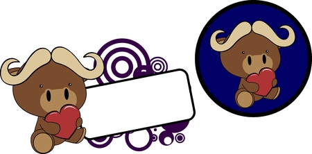 Cute lovely baby oxen cartoon set in vector format very easy to edit