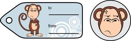 Funny monkey chimp expression cartoon giftcard en formato vectorial muy fácil de editar Foto de archivo - 86321024