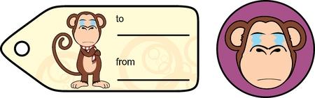 Funny monkey chimp expression cartoon giftcard en formato vectorial muy fácil de editar Foto de archivo - 86321028