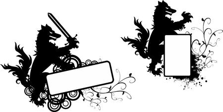 Heraldic black Wolf tattoo copyspace set in vector format very easy to edit Ilustração