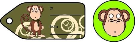 grappige aap chimpansee expressie cartoon cadeaukaart in vector formaat zeer gemakkelijk te bewerken Stock Illustratie