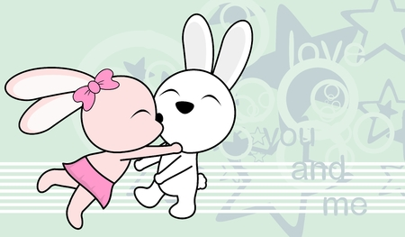 sweet love baby boy and girl kissing bunny cartoon pattern in vector format very easy to edit