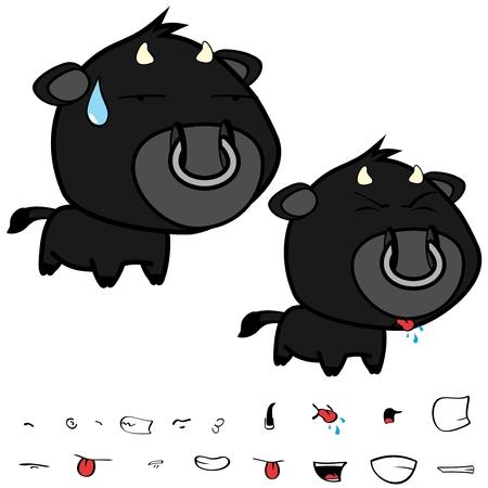Divertidas expresiones de gran cabeza negra bull bull en formato vectorial muy fácil de editar. Foto de archivo - 86428117