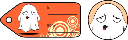 ghost halloween cartoon expressions giftcard in vector format