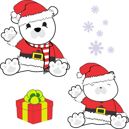 Cute little baby polar bear in santa claus costume.