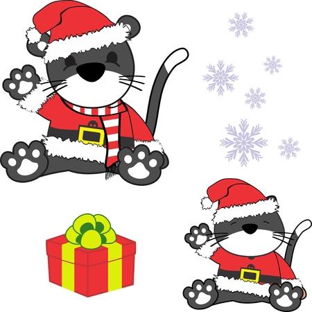 Cute little baby kitten bear in santa claus costume.