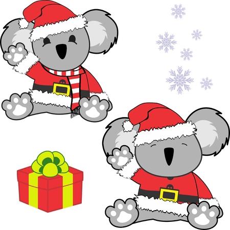 Cute little baby koala bear in santa claus customer.