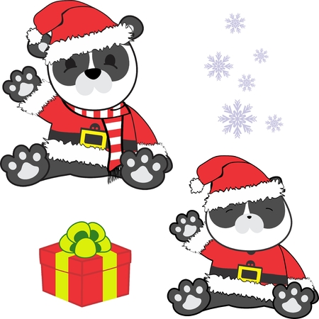 Cute little baby panda in santa claus customer.