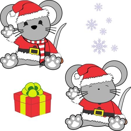 かわいい小さな赤ちゃんマウス サンタ クロース顧客。 写真素材 - 88888203