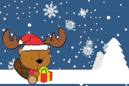cute baby beaver cartoon xmas background in vector format very easy to edit
