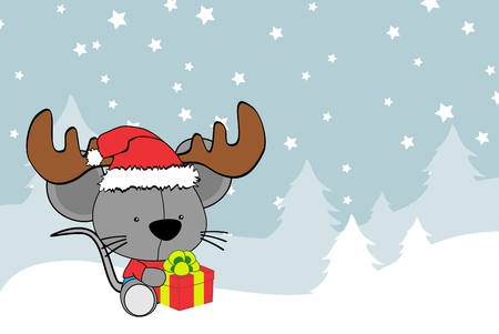 cute baby mouse cartoon xmas background in vector format very easy to edit