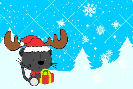 cute baby cat cartoon xmas background in vector format very easy to edit Illustration