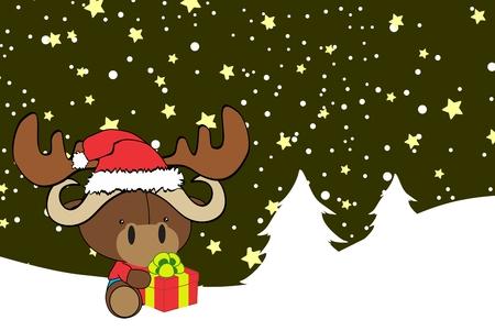cute baby ox cartoon xmas background in vector format very easy to edit