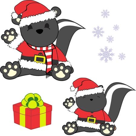 Cute little baby skunk in santa claus customer. Illustration