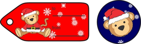 cute plush baby monkey cartoon santa claus costume giftcard in vector format Illustration