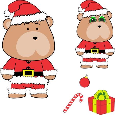 Christmas baby teddy bear cartoon. Illustration