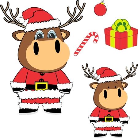 Christmas baby deer cartoon.