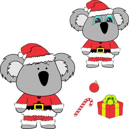 Christmas baby koala cartoon.