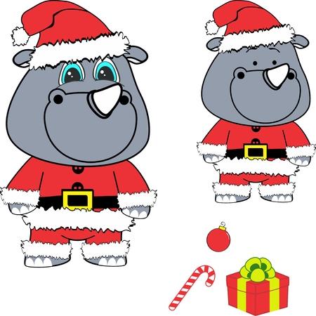 Christmas baby rhino cartoon.