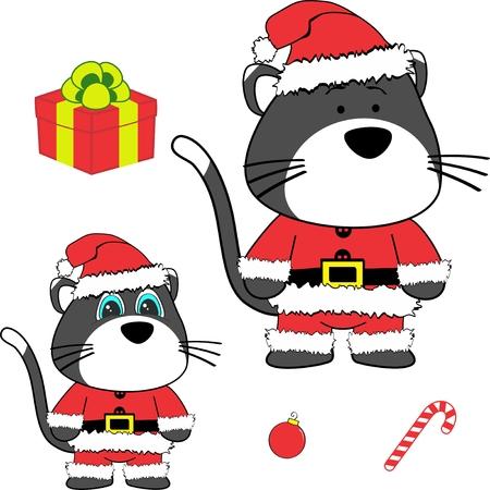 Christmas baby mouse cartoon.
