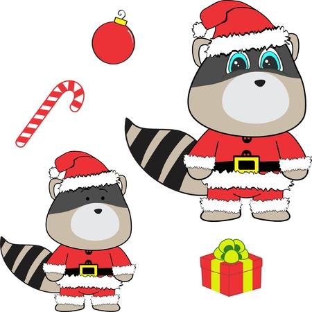 Christmas baby raccoon cartoon. Illustration