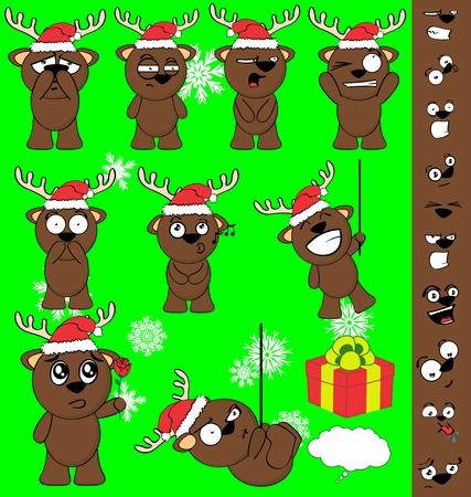 xmas funny baby deer cartoon santa claus hat set in vector format
