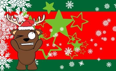 xmas little reindeer cartoon santa claus hat background in vector format Illustration