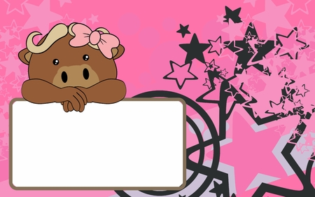 cute baby girl with ox cartoon background copyspace in vector format