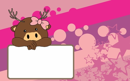 cute baby girl cartoon deer background copyspace in vector format