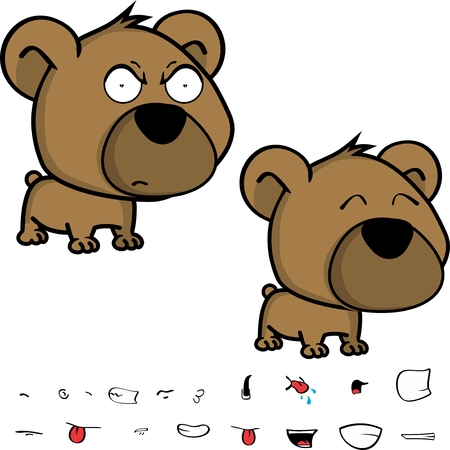 cute little head baby teddy bear expressions set in vector format very easy to edit Illustration