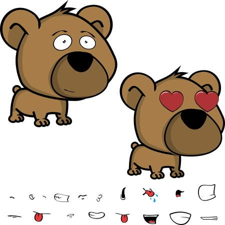 cute little head baby teddy bear expressions set in vector format very easy to edit Illusztráció