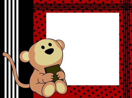 postal card: cute baby monkey book picture frame background in vector format very easy to edit