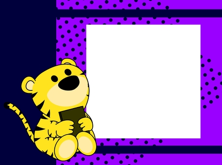 Cute baby tiger book picture frame, background in vector format. Illustration