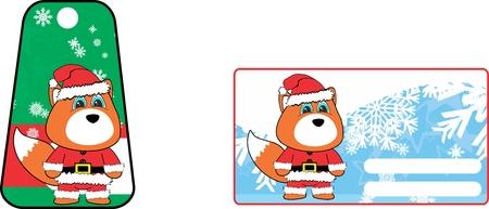 A xmas cute fox clauss costume cartoon gift card set in vector format Illustration
