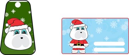 A xmas cute polar bear clauss costume cartoon gift card set in vector format