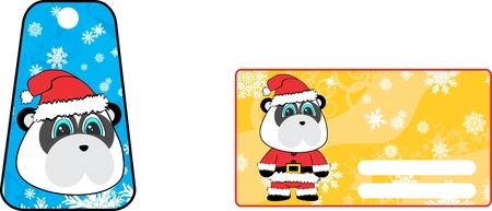 A xmas cute panda bear clauss costume cartoon gift card set in vector format