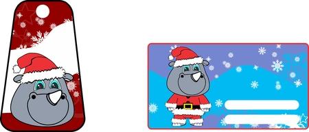 A xmas cute rhino clauss costume cartoon gift card set in vector format Illustration