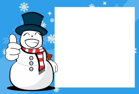 Funny snowman cartoon design with copy space.