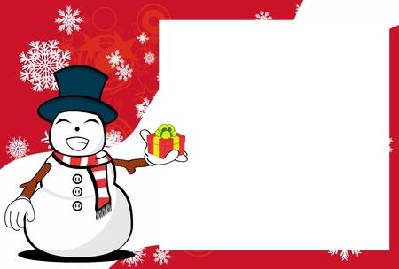 Funny snowman cartoon design with copy space. Stock Vector - 91126898