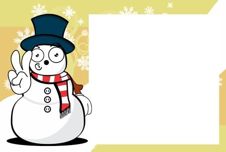 Funny snowman cartoon design with copy space. Stock Vector - 91127130