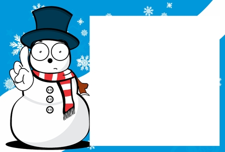 Xmas funny snow man cartoon expression picture frame background in vector format Stock Vector - 91127142