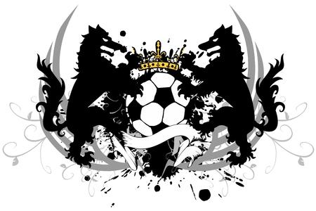 Heraldische zwarte wolf tattoo voetbal ontwerp.
