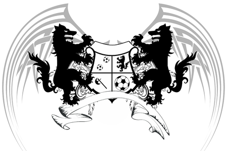 Heraldic black Wolf tattoo soccer soccer coat of arms in vector format very easy to edit 일러스트