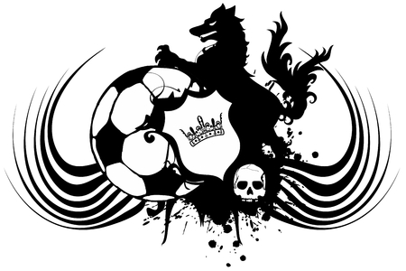 Heraldic black Wolf tattoo soccer soccer coat of arms in vector format very easy to edit Illustration